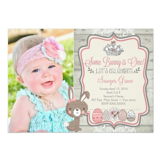 Some bunny is one easter birthday party invitation zazzle some bunny is one easter birthday party invitation filmwisefo