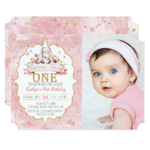 Some Bunny Is Turning One 1st Birthday Invitations