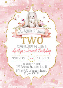 Some Bunny Is Turning Two 2nd Birthday Invitations