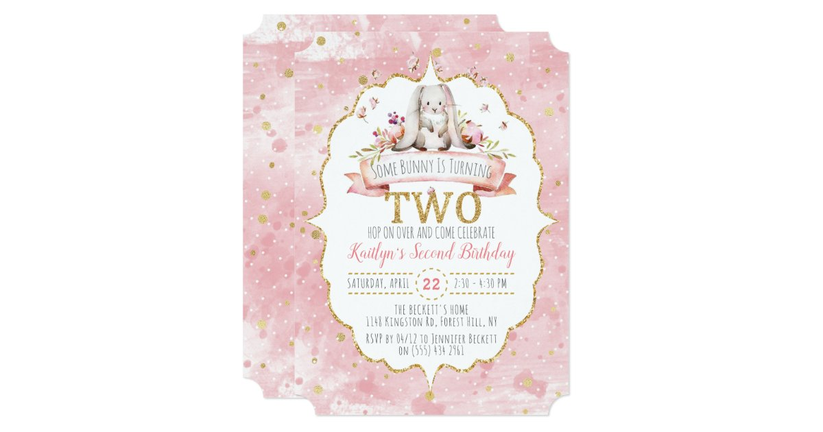 Some Bunny Is Turning Two 2nd Birthday Invitations Zazzle
