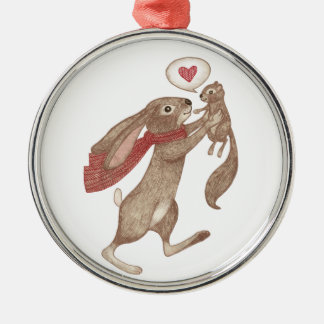 some bunny loves me metal ornament