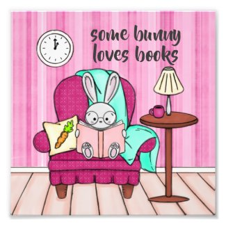 Some Bunny Loves Reading Children's Art Photo Print