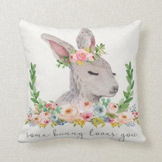 Some Bunny Loves You Boho Woodland Nursery Pillow