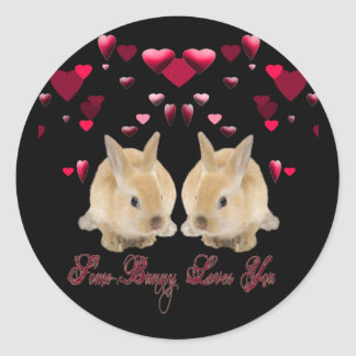 SOME BUNNY LOVES YOU CLASSIC ROUND STICKER