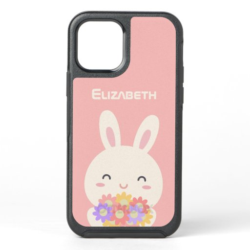 Some Bunny Loves You Custom Name Pink OtterBox Symmetry iPhone 12 Case