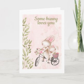 Some Bunny Loves You Rabbit Themed Valentines Day Holiday Card