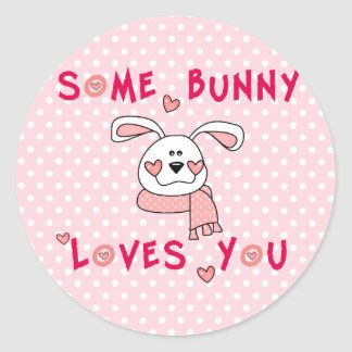 Some Bunny Loves You Round Stickers