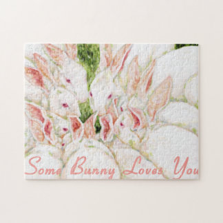 Some Bunny loves You - White Rabbits Jigsaw Puzzle