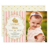 Some Bunny Pink & Gold Glitter Birthday Photo Invitation