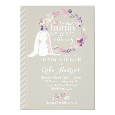 Kimbellished Some Bunny Special Baby Shower Invitation (gray)