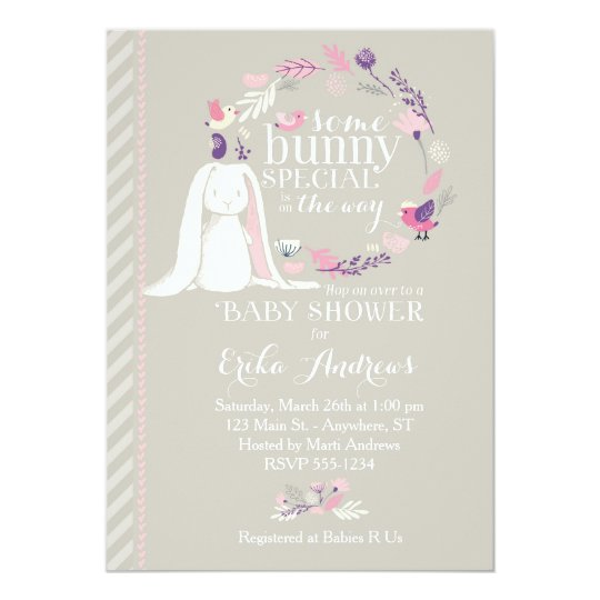 Some Bunny Special Baby Shower Invitation Gray Zazzle