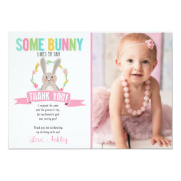 Bunny thank you cards greeting photo cards zazzle some bunny thank you card birthday party girl bookmarktalkfo Image collections