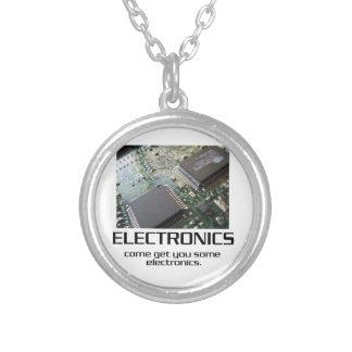 Some Electronics. Round Pendant Necklace