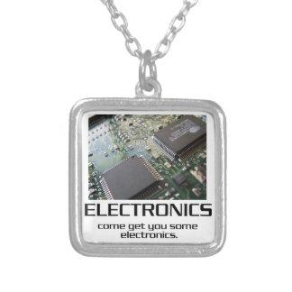 Some Electronics. Square Pendant Necklace