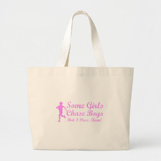 Some Girls Chase Boys I Pass Them Girl Jogger Large Tote Bag