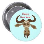 Some Gnu Stuff_Gwendolyn Gnu_Happy Gnu Year! 3 Inch Round Button