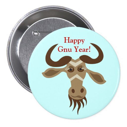 Some Gnu Stuff_Gwendolyn Gnu_Happy Gnu Year! Pinback Button
