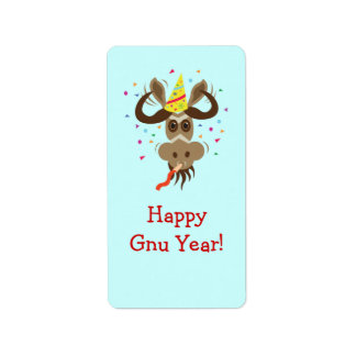Some Gnu Stuff_Partier Gnu_Happy Gnu Year! Address Label