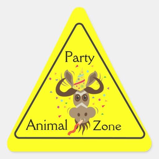 Some Gnu Stuff_Partier Gnu_Party Animal Zone Triangle Sticker