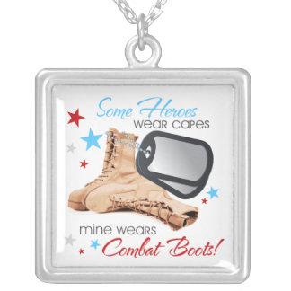 Some Heroes Wear Capes, Mine Wears Combat Boots Square Pendant Necklace