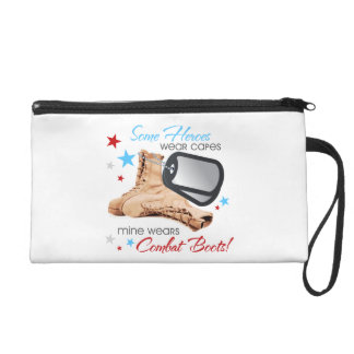 Some Heroes Wear Capes, Mine Wears Combat Boots Wristlet Purse