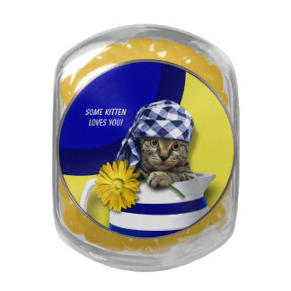 Some Kitten Loves You. Mother's Day Gift Candy Glass Candy Jars