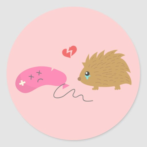 Some Love is not meant to be, funny hedgehog Classic Round Sticker
