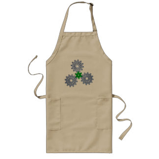 Some silver gears with a little green long apron
