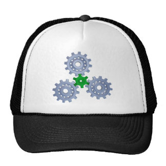 Some silver gears with a little green trucker hat
