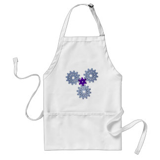 Some silver gears with a little purple adult apron