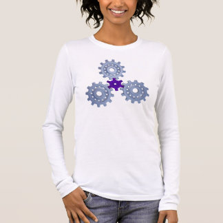 Some silver gears with a little purple long sleeve T-Shirt