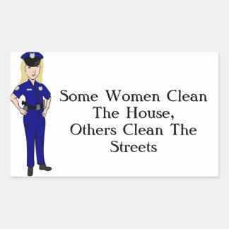 Some Women Clean Police Officer Humor Rectangular Sticker