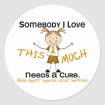 Somebody I Love - Appendix Cancer (Girl) Classic Round Sticker