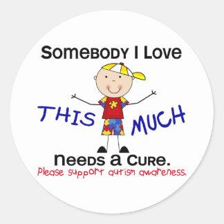 Somebody I Love - Autism (Boy) Classic Round Sticker