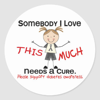 Somebody I Love - Diabetes (Girl) Classic Round Sticker