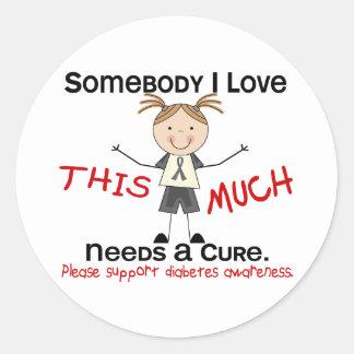 Somebody I Love - Diabetes (Girl) Classic Round Sticker