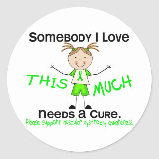 Somebody I Love - Muscular Dystrophy (Girl) Classic Round Sticker
