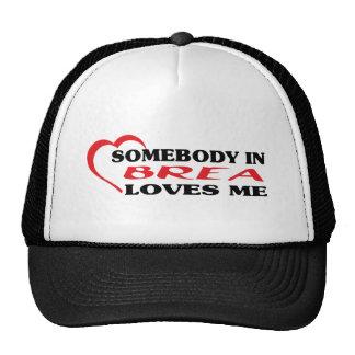 Somebody in Brea loves me t shirt Mesh Hat
