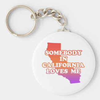 Somebody In California Loves Me Basic Round Button Keychain