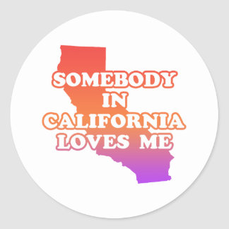Somebody In California Loves Me Classic Round Sticker
