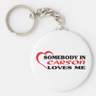 Somebody in Carson loves me t shirt Basic Round Button Keychain