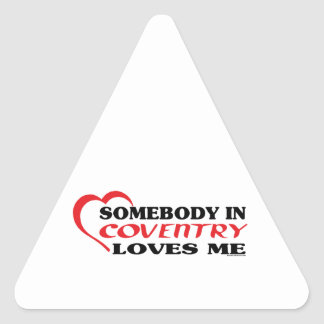 Somebody In Coventry Loves me Triangle Sticker