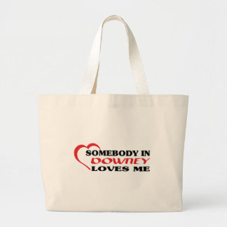 Somebody in Downey loves me t shirt Canvas Bags