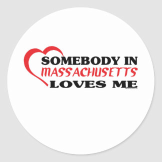 Somebody in Massachusetts Loves Me shirts Stickers
