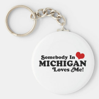 Somebody In Michigan Loves Me Basic Round Button Keychain