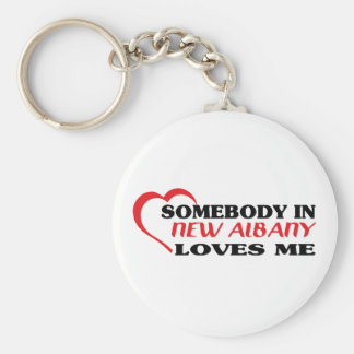 Somebody in New Albany loves me t shirt Basic Round Button Keychain