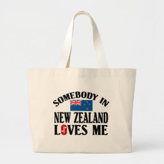 Somebody In New Zealand Loves Me Large Tote Bag