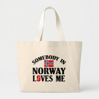 Somebody In Norway Large Tote Bag
