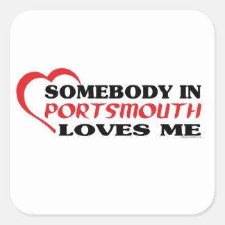 Somebody In Portsmouth Loves me Square Sticker