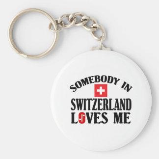 Somebody In Switzerland Basic Round Button Keychain